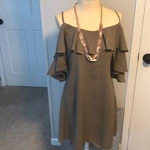 Dresses & Skirts - Olive linen blend dress.